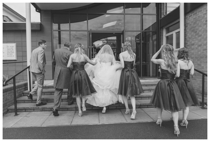 Bridal party outside church