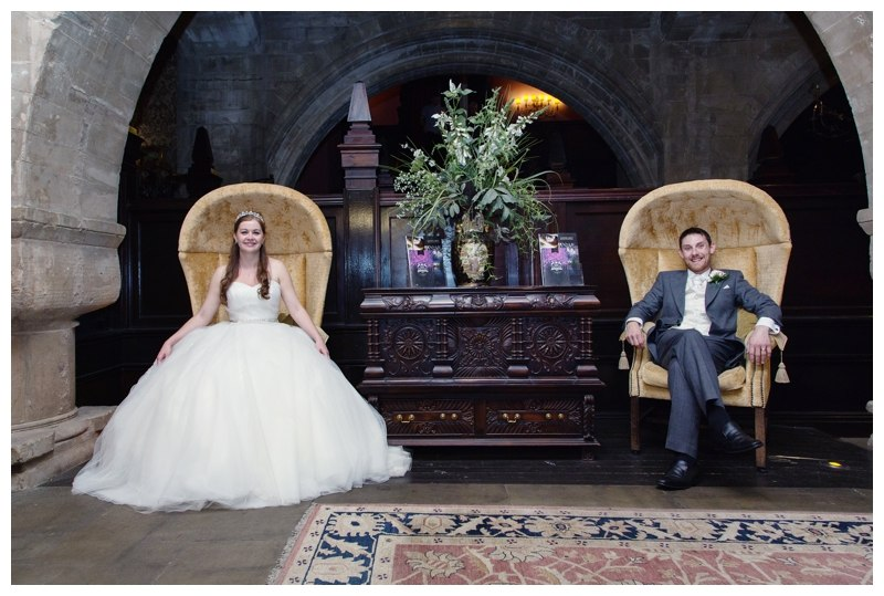Bride and Groom on Coombe Abbey chairs
