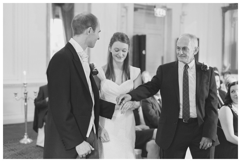 Dad giving the bride away