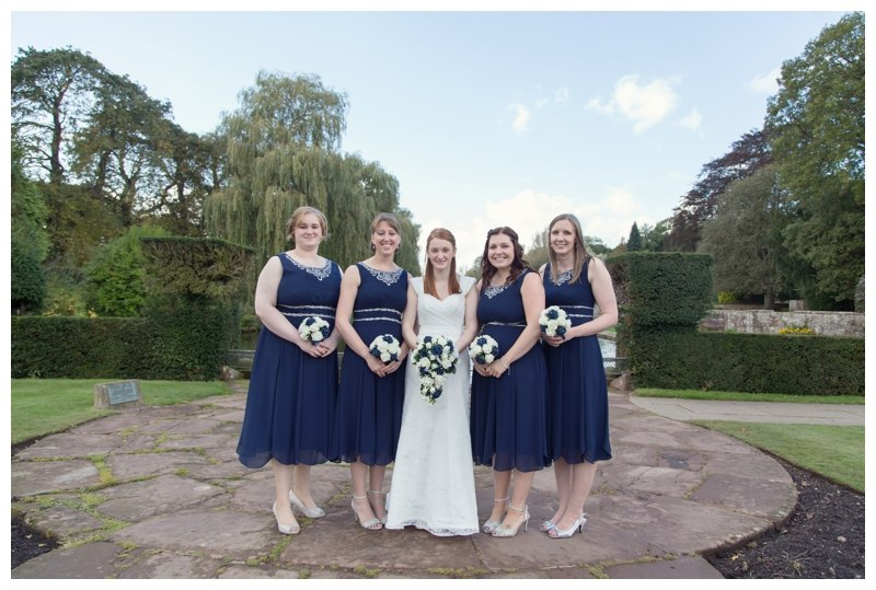 bride and bridesmaids at coombe abbey
