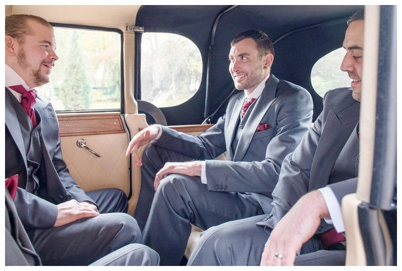 Groomsmen in car
