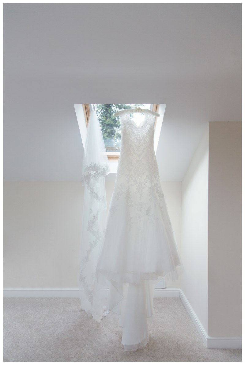 Bridal gown hung up