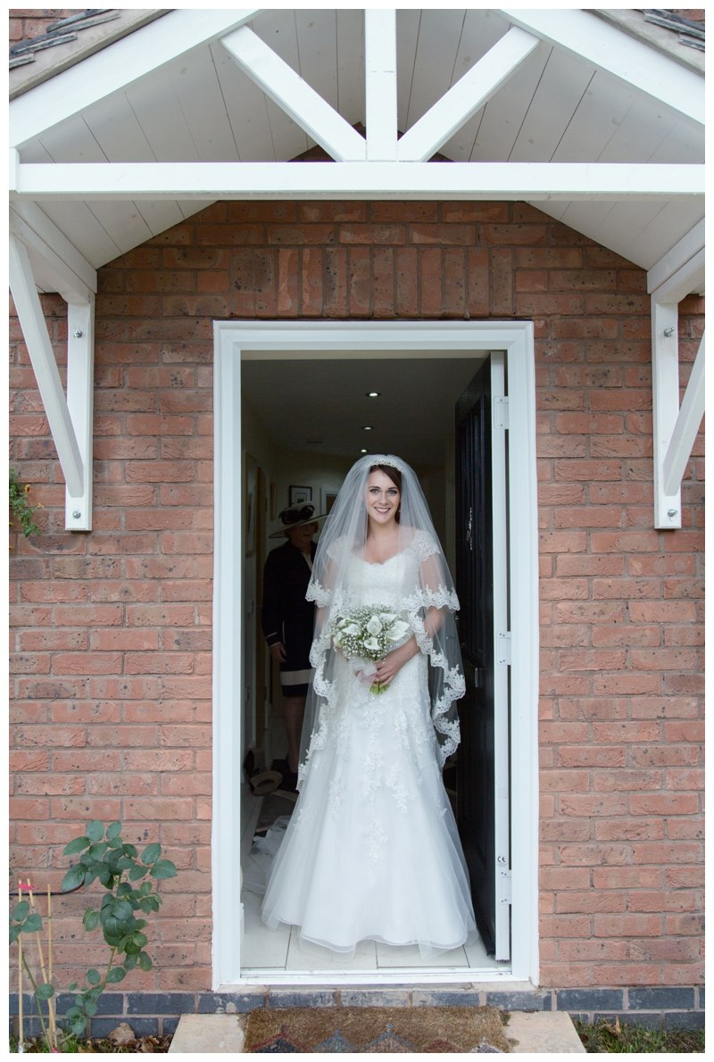 bride outside house