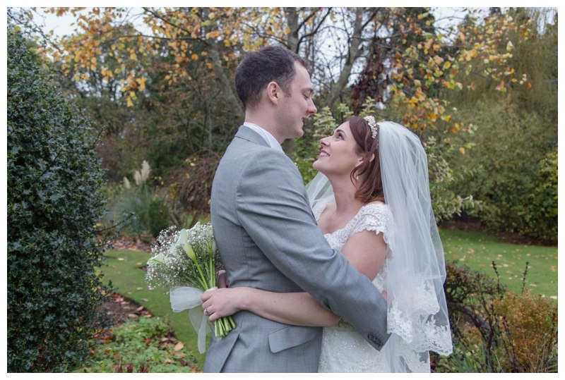 bride and groom at nuthurst grange