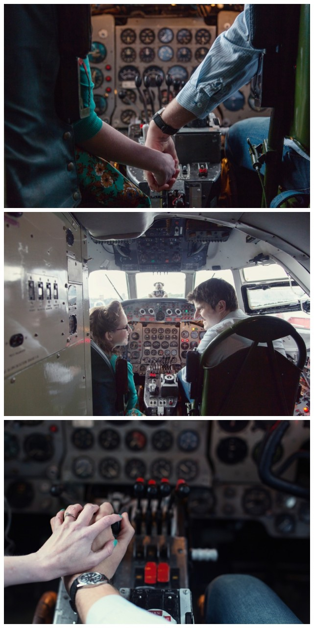 Couple sat in the cockpit of the cargo plane