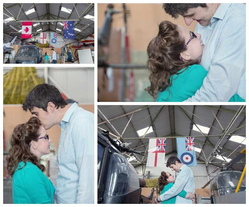 couple inside the air hanger