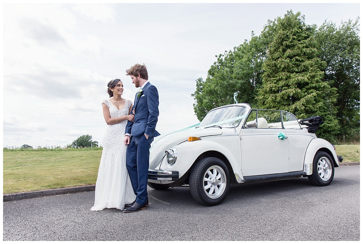 bride and groom with beetle