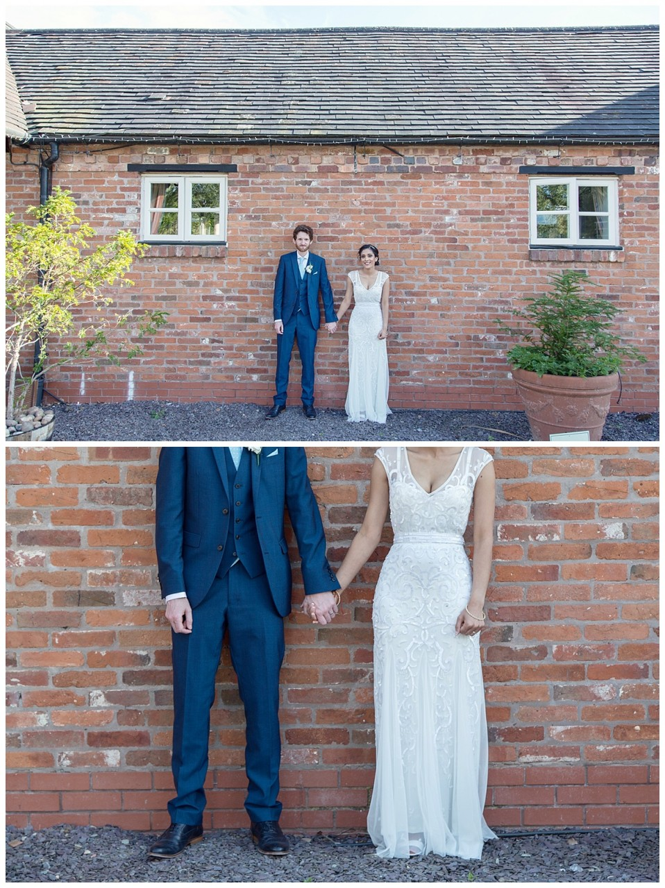 bride and groom by a wall