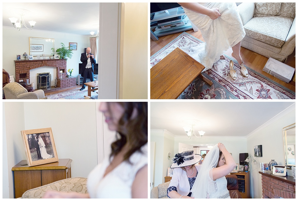 bride putting on veil and shoes