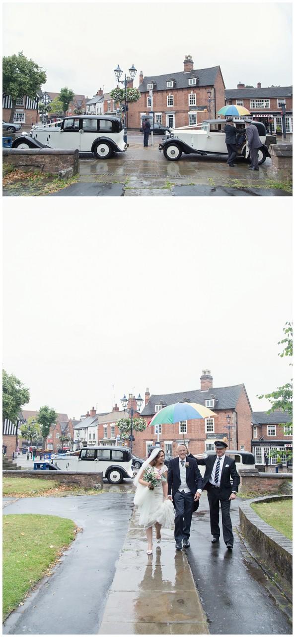 bride arriving at St Alphedge church