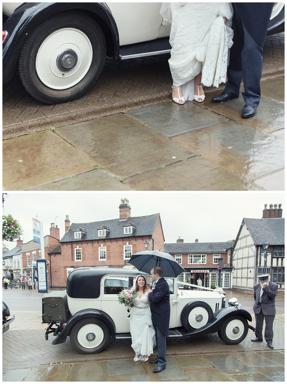 bride and groom by the car