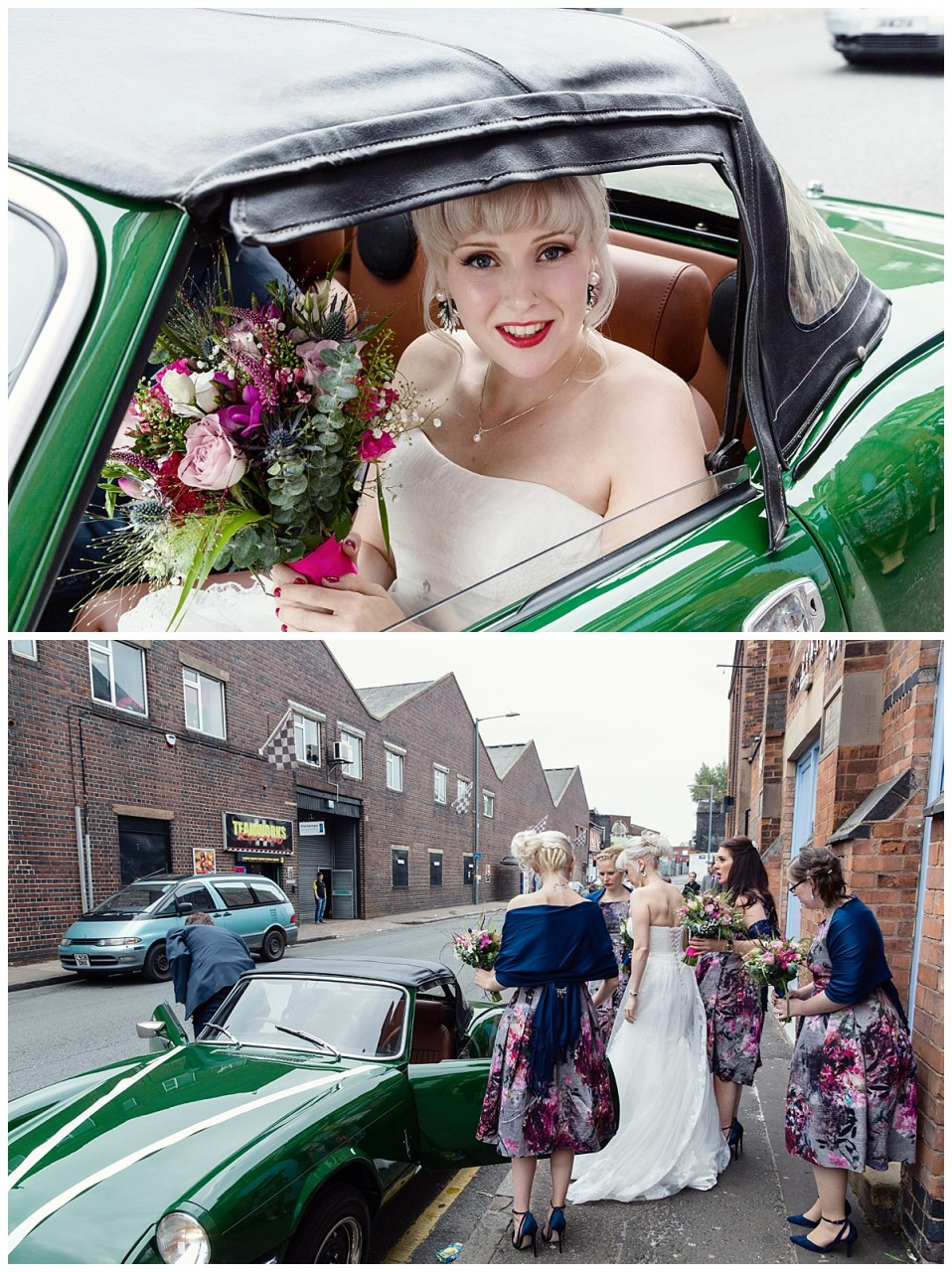 bride arriving at fazeley studios