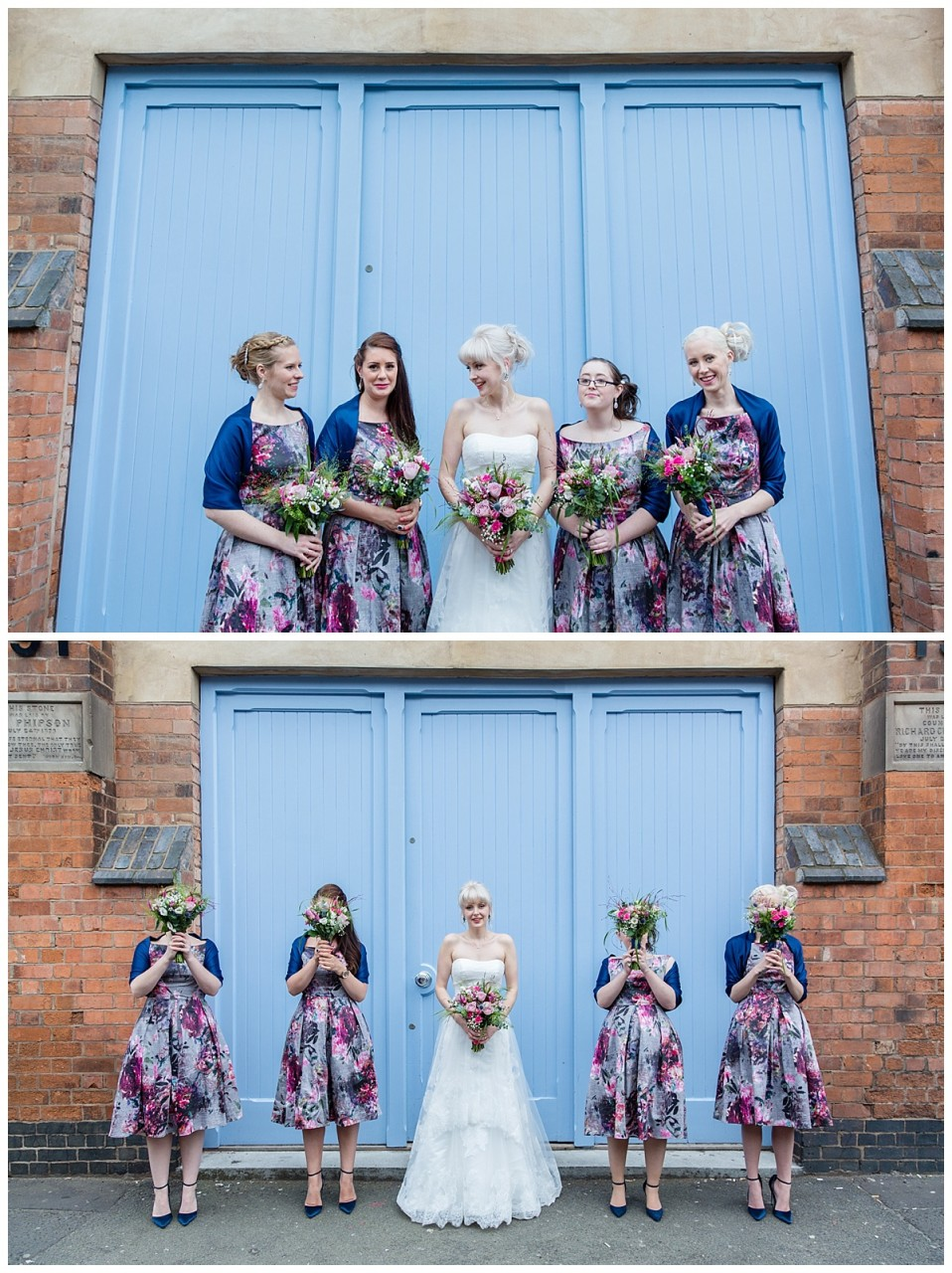bride and bridesmaids by the doors