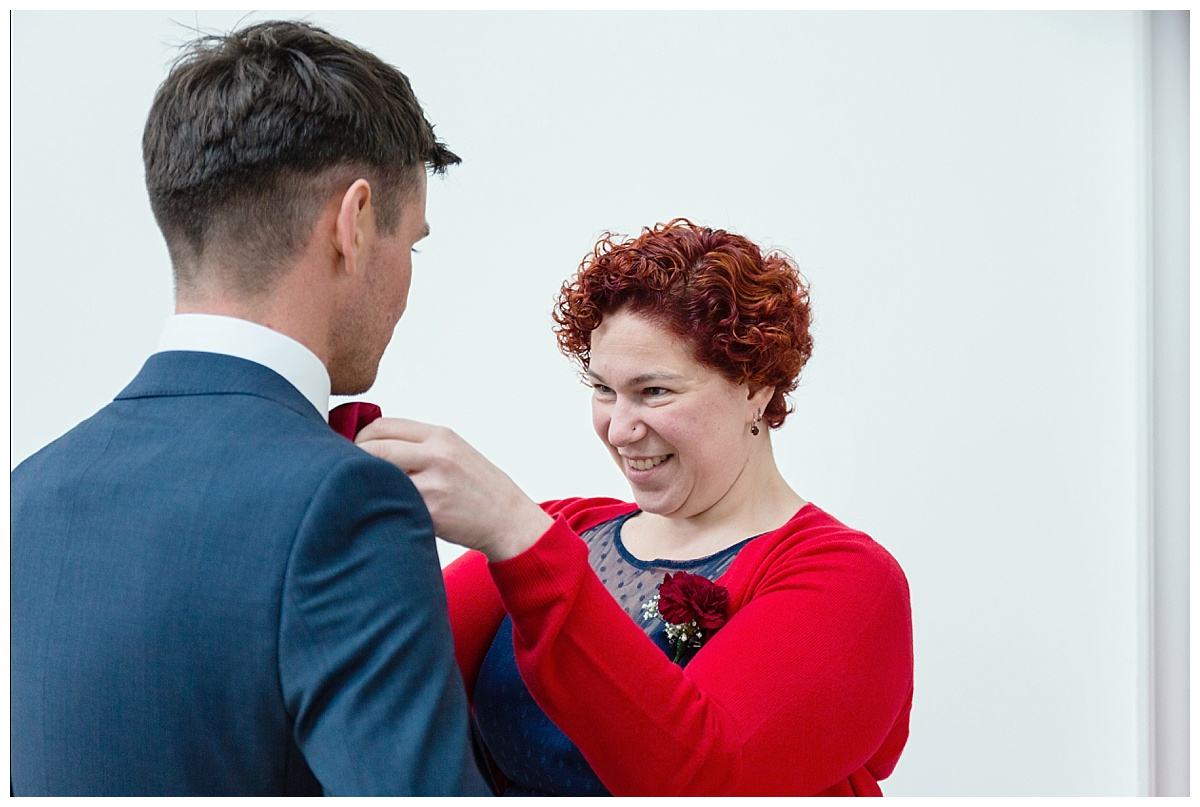 putting on buttonhole