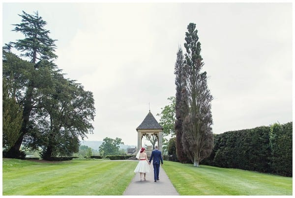 Bride and Groom walking around ellenborough park