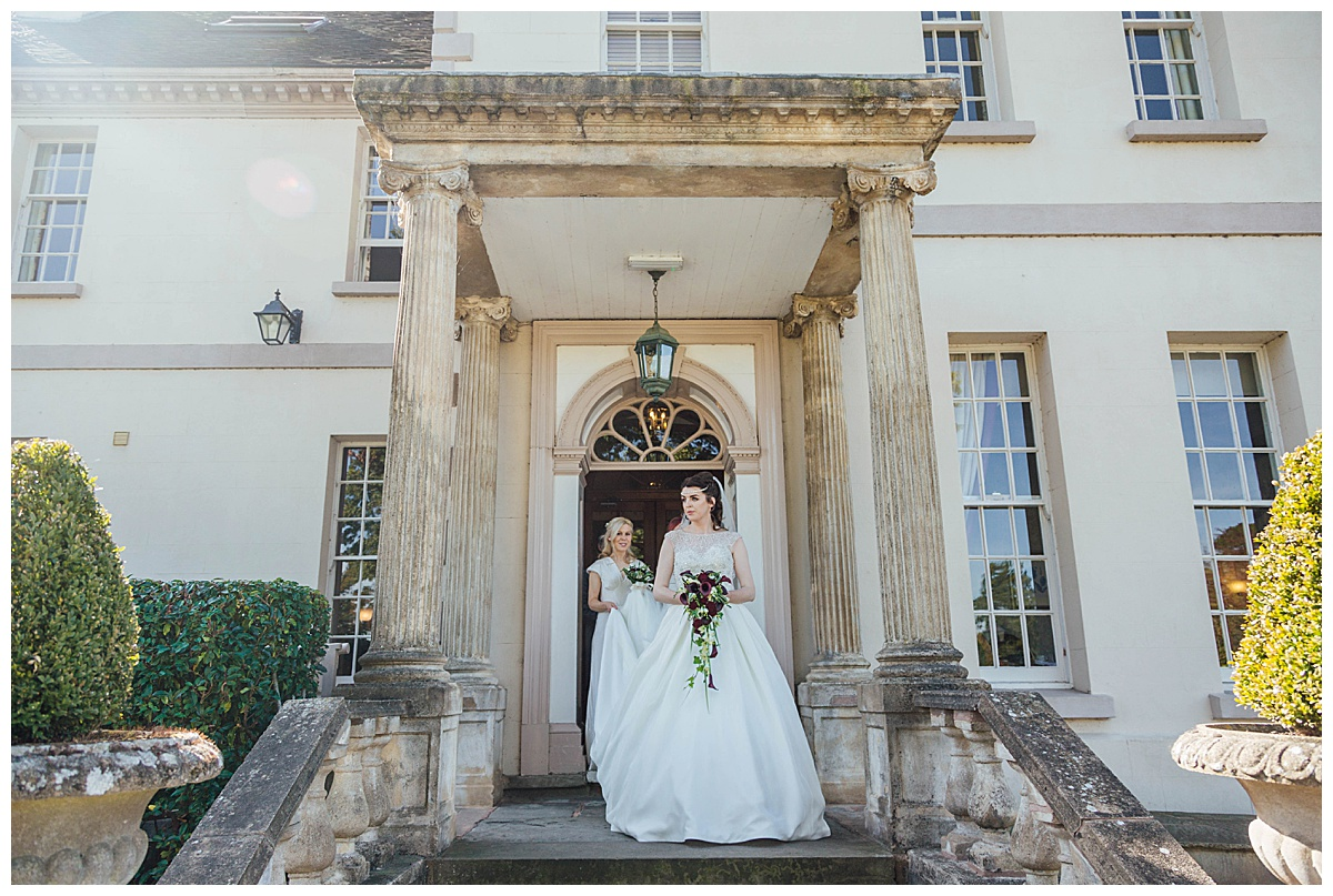 Bride outside brockencote hall