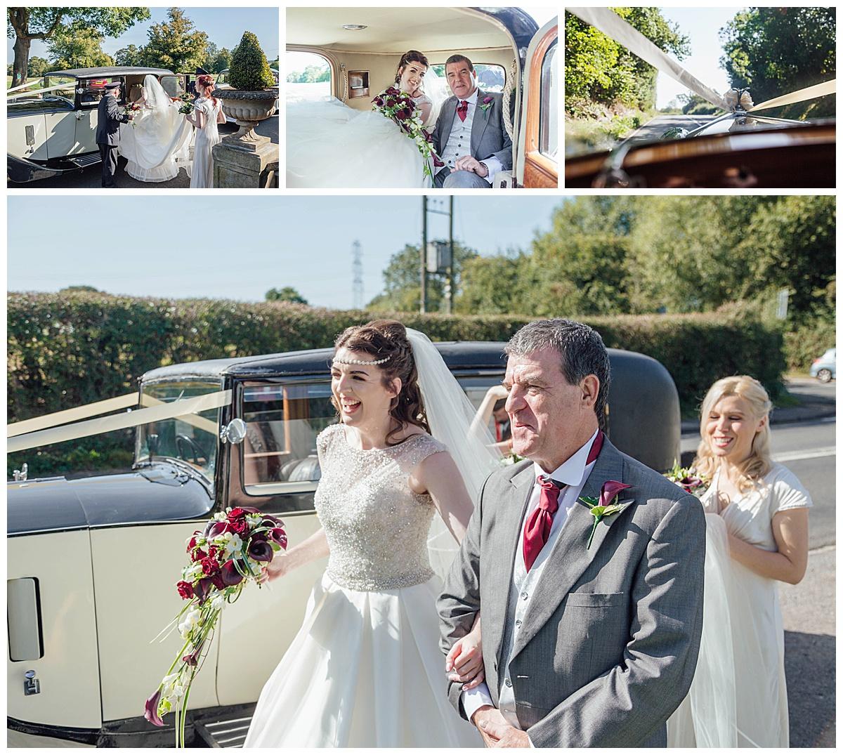 Bride getting in bridal car