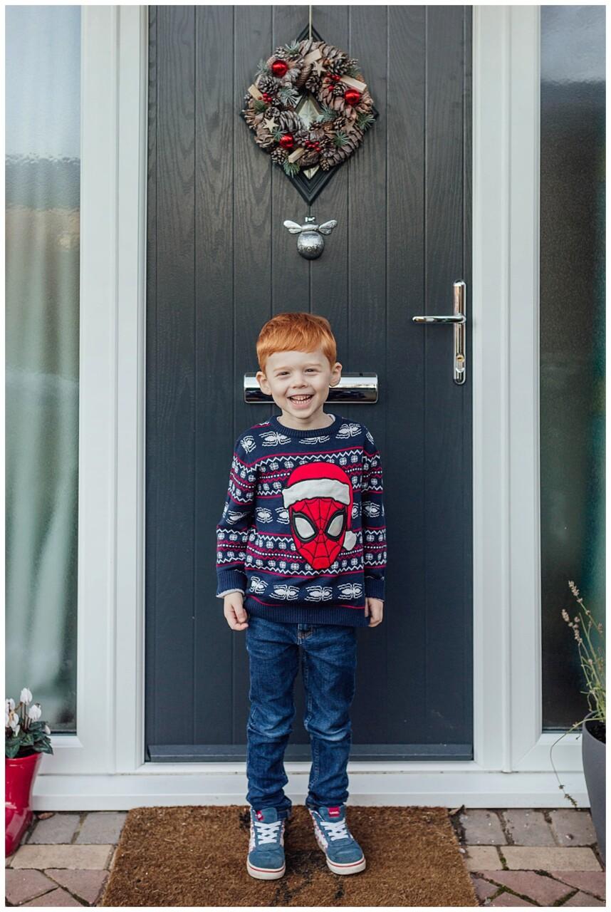 Christmas doorstep portrait