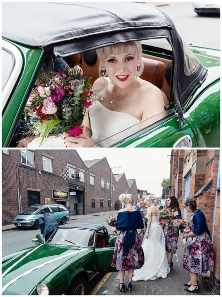 bride arriving at fazeley studios